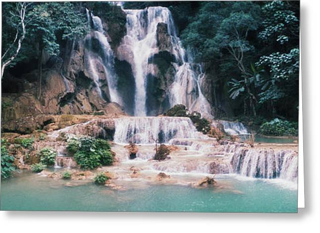 View Of The Kuang Si Falls, Luang Greeting Card by Panoramic Images