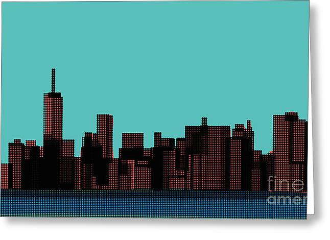 View Of The Manhattan In The Pop Art Greeting Card by Finlandi