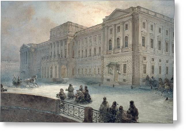View Of The Mariinsky Palace In Winter Greeting Card by Vasili Semenovich Sadovnikov
