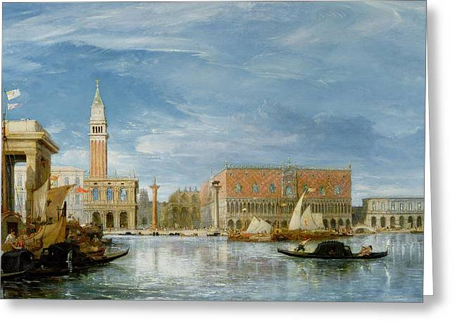 View Of The Molo And The Palazzo Ducale In Venice  Greeting Card by James Holland