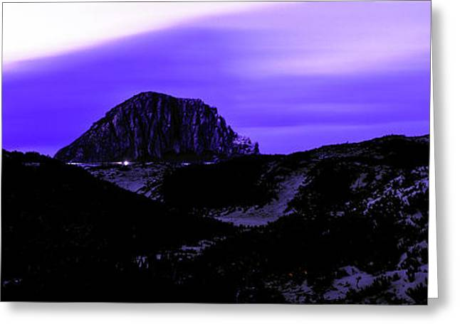 View Of The Morro Rock At Dusk, Morro Greeting Card