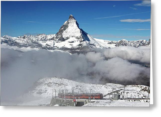 View Of The Mountain Railway Greeting Card