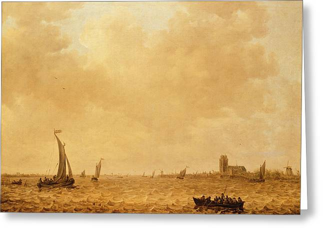 View Of The Old Maas, Dordrecht Greeting Card by Jan Josephsz van Goyen