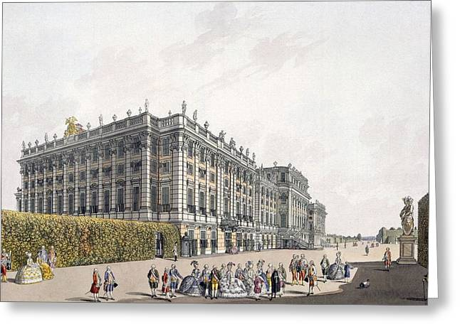 View Of The Palace Of Schoenbrunn Greeting Card by Laurenz Janscha