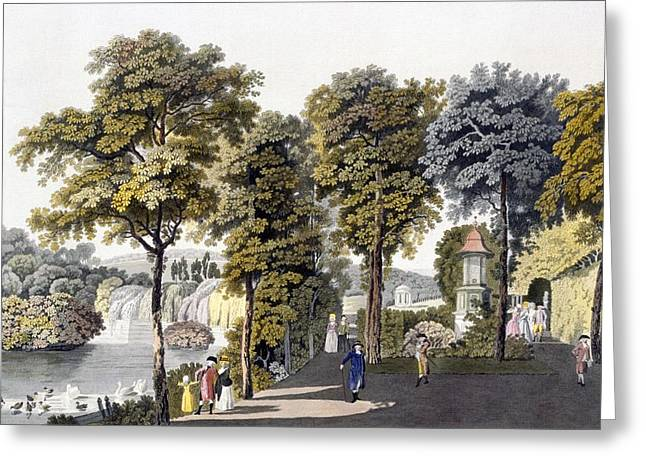 View Of The Park At Neu-waldeg Greeting Card by Laurenz Janscha
