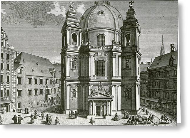 View Of The Peterskirche, Vienna Engraved By Johann Bernard Hattinger Greeting Card
