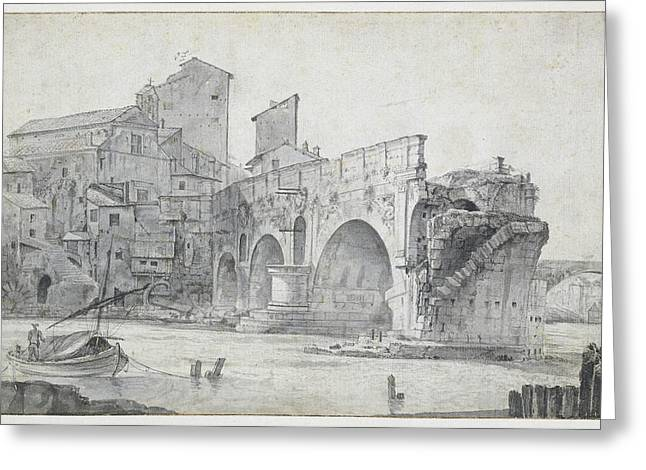 View Of The Ponte Rotto And Trastevere Rome Italy Greeting Card by Quint Lox