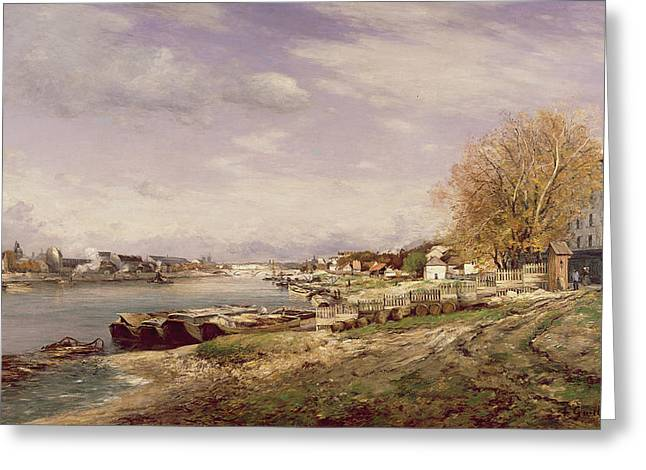 View Of The Port Of Bercy, Paris, 1880 Oil On Canvas Greeting Card