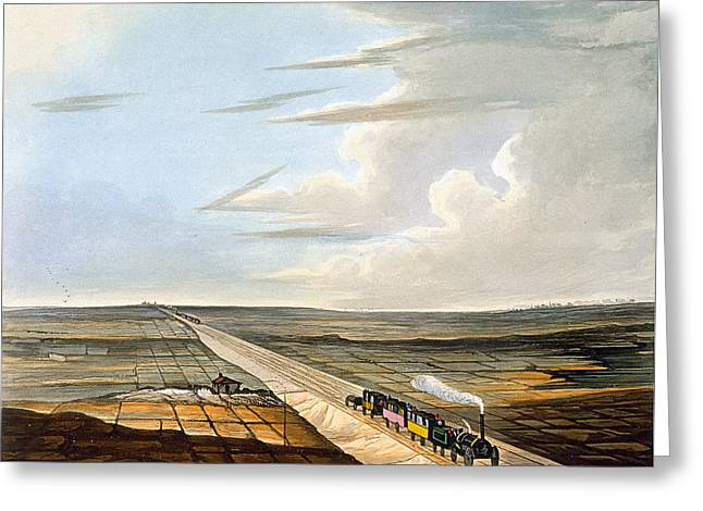 View Of The Railway Across Chat Moss Greeting Card by Thomas Talbot Bury