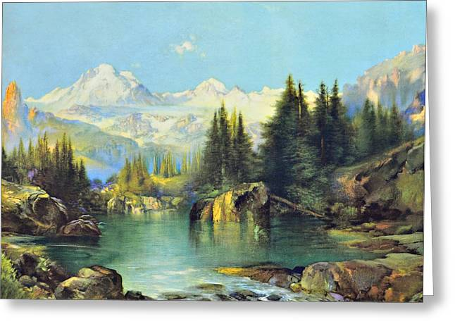 View Of The Rocky Mountains Greeting Card by Susan Leggett