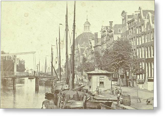 View Of The Singel In Amsterdam, The Netherlands Greeting Card by Artokoloro