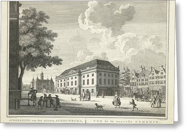 View Of The Square For The New Theater, Nieuwe Schouwburg Greeting Card by Cornelis Bogerts And Theodore Crajenschot