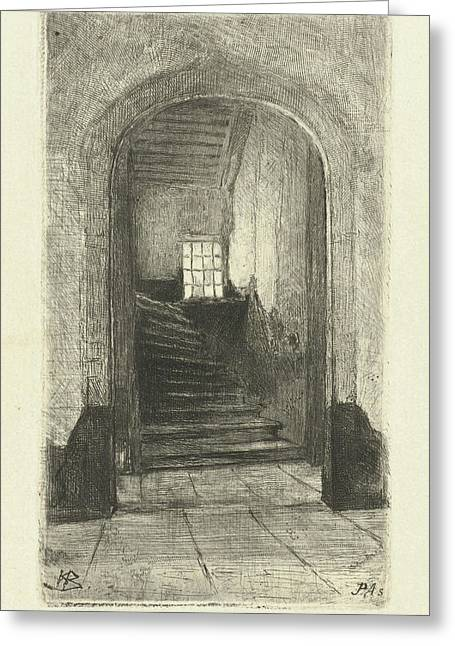 View Of The Staircase In The Prinsenhof Delft Greeting Card
