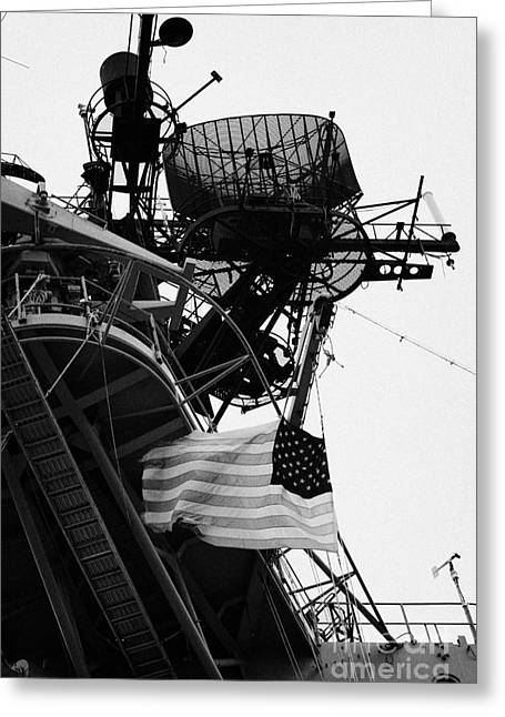 view of the stars and stripes flag on the bridge of the Intrepid Sea Air Space Museum  Greeting Card