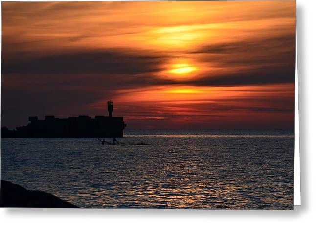 View Of The Sunset Greeting Card by Gynt