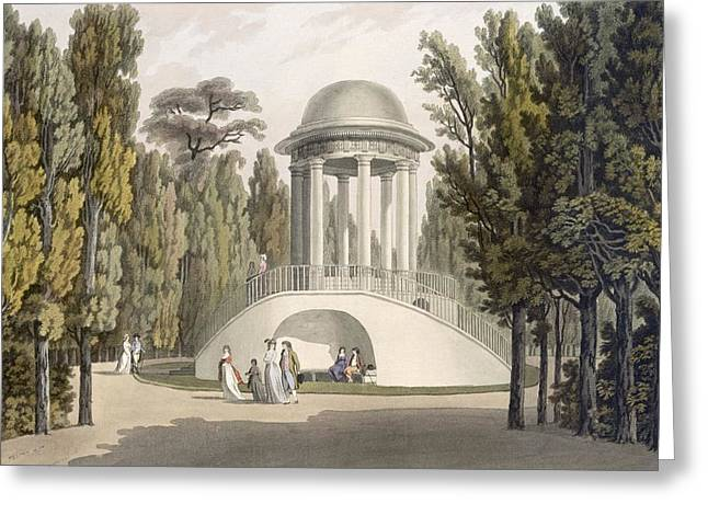 View Of The Temple Of Diana At Eisgrub Greeting Card by Laurenz Janscha