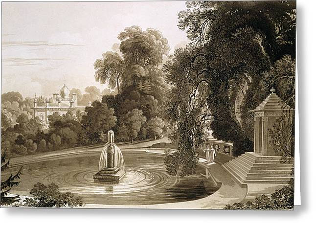 View Of The Temple Of Suryah Greeting Card by John Martin