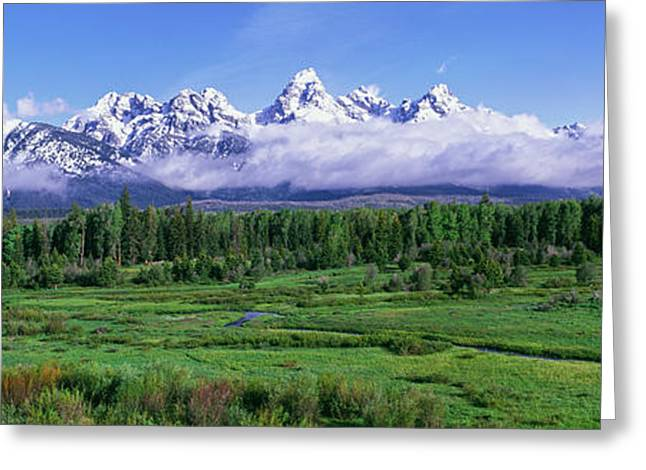 View Of The Teton Range And The Snake Greeting Card by Panoramic Images