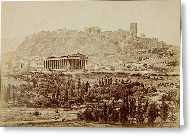 View Of The Theseion With The Acropolis In The Distance Greeting Card