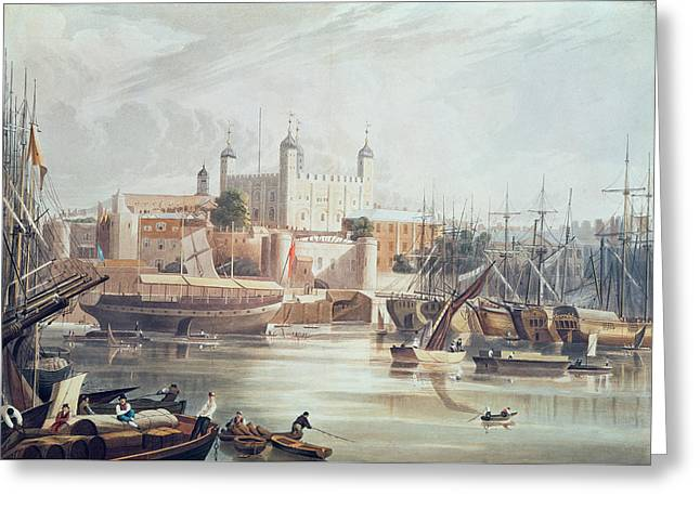View Of The Tower Of London Greeting Card by John Gendall
