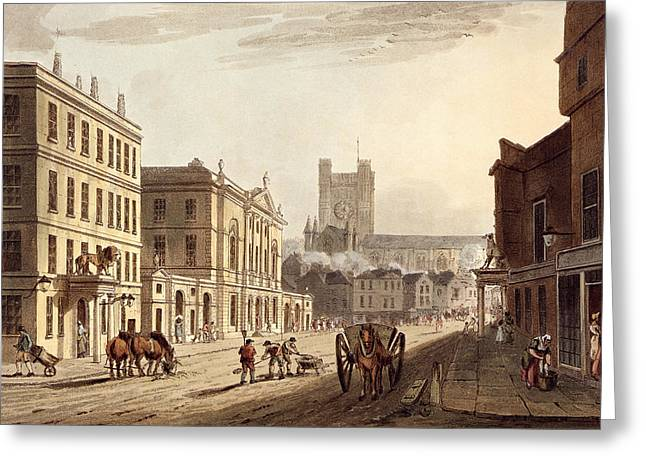 View Of The Town Hall, Market And Abbey Greeting Card by John Claude Nattes