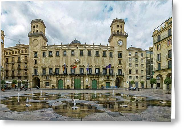 View Of The Town Hall Square, Alicante Greeting Card by Panoramic Images