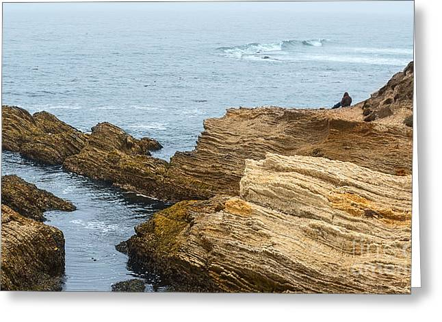 View Of Time - The Jagged Rocks And Cliffs Of Montana De Oro State Park Greeting Card by Jamie Pham