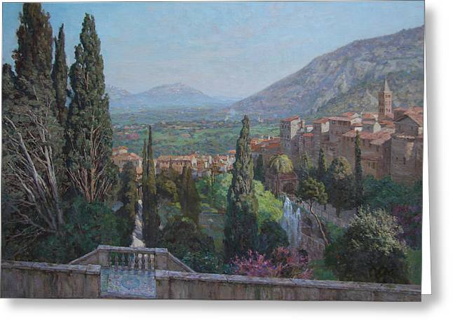 View Of Tivoli From The Terrace Of Villa D'este Greeting Card by Korobkin Anatoly