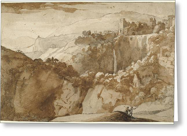View Of Tivoli Recto,  View Of Tivoli Verso Claude Lorrain Greeting Card by Litz Collection