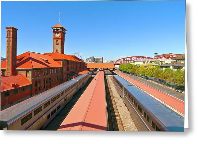 View Of Trains At Railroad Station Greeting Card