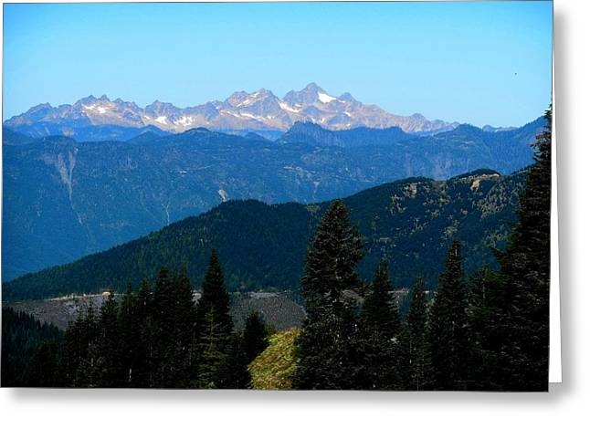 View Of Twin Sisters From Sauk Mountain Greeting Card