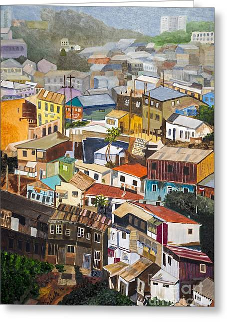 View Of Val Pariso Chile By Stan Bialick Greeting Card by Sheldon Kralstein