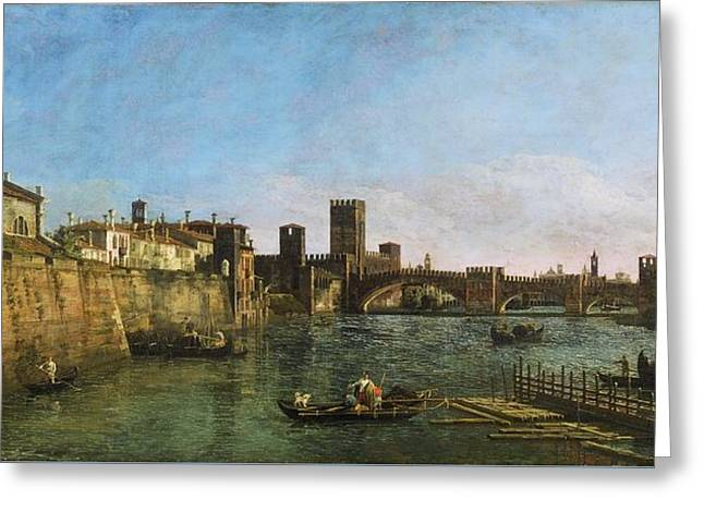 View Of Verona With The Castelvecchio And Ponte Scaligero Greeting Card