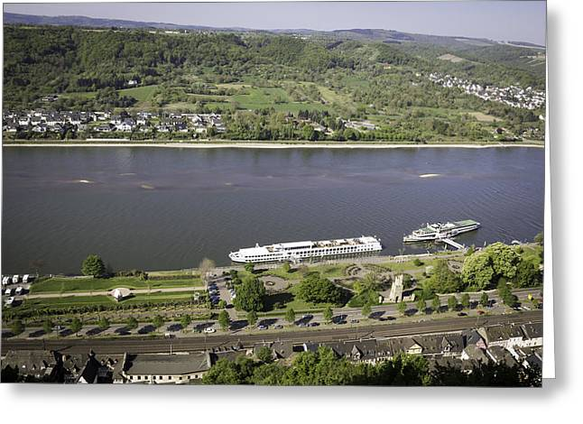 View Of Viking Longship Ingvi On The Rhine Greeting Card