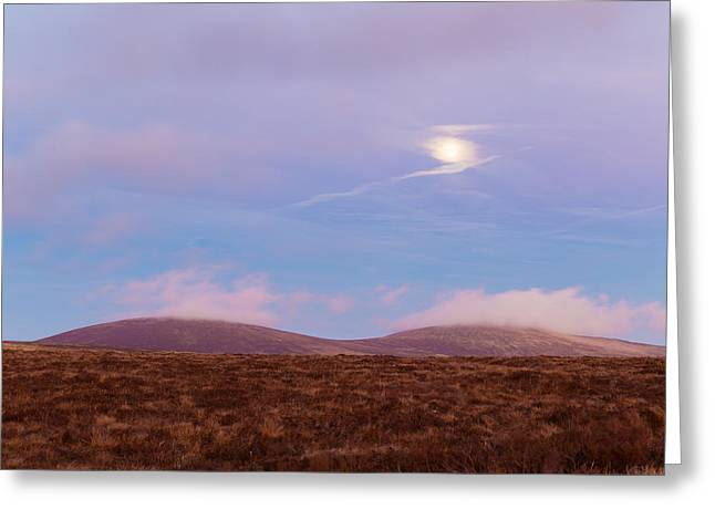 View Of War Hill And Djouce Mountain At Moonrise Greeting Card by Semmick Photo