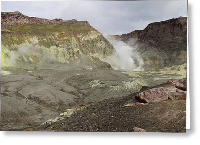 View Of White Island Volcano, Bay Greeting Card by Panoramic Images