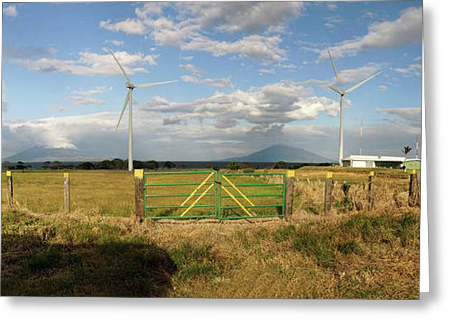 View Of Wind Turbines In Farm Greeting Card by Panoramic Images