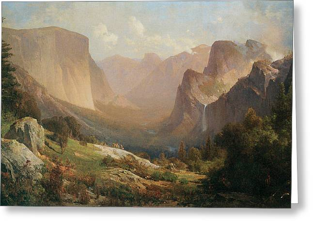 View Of Yosemite Valley Greeting Card by Thomas Hill
