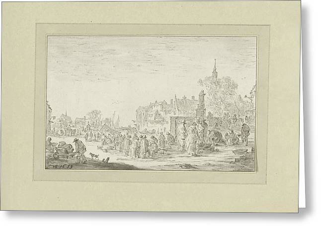 View On A Fish Market In A City, Johannes Körnlein Greeting Card by Quint Lox