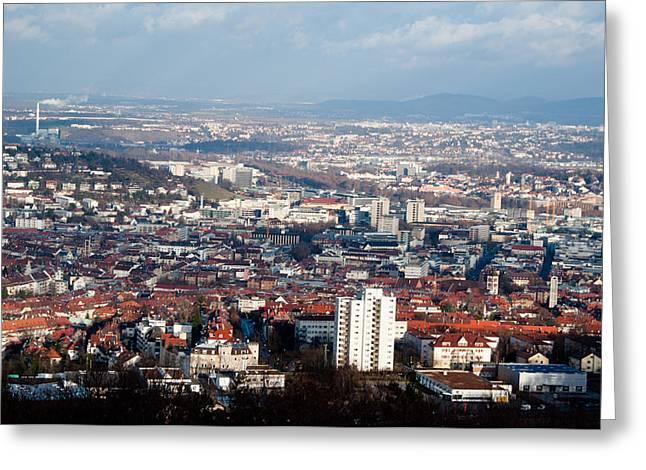 View On Stuttgart From Birkenkopf Greeting Card by Frank Gaertner