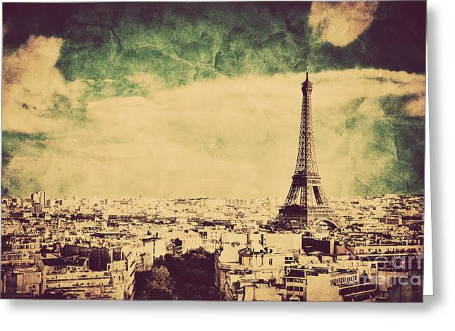 View On The Eiffel Tower And Paris France Retro Vintage Style Greeting Card