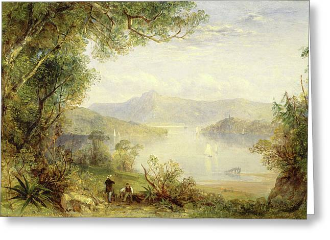 View On The Hudson River, Thomas Creswick Greeting Card