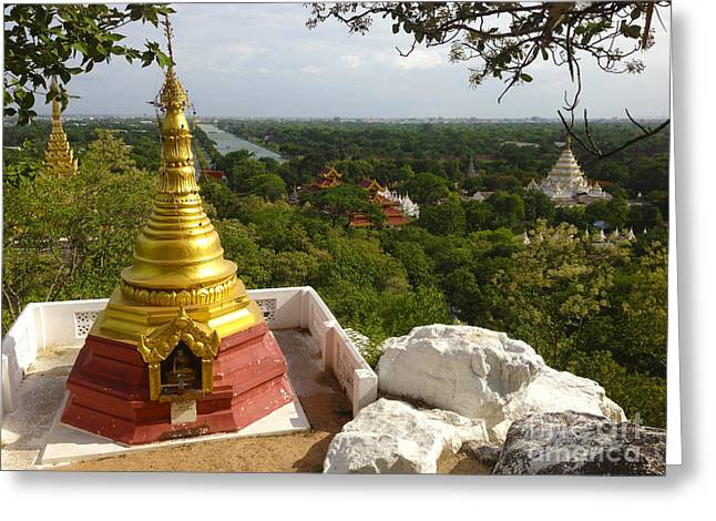 Greeting Card featuring the photograph View Over Ancient City Of Mandalay Aungmyaythazan From Mandalay Hill Mandalay Burma by Ralph A  Ledergerber-Photography