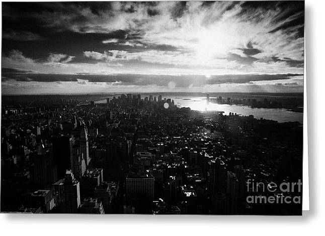 View Over Lower Manhattan At Sunset New York City Usa Greeting Card