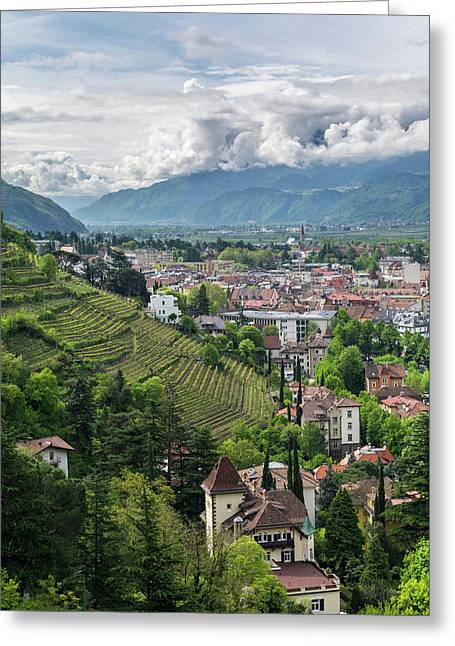 View Over The City Of Meran (merano Greeting Card
