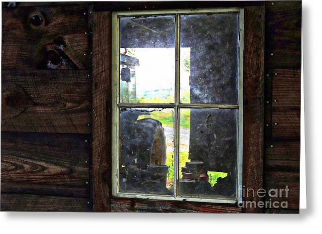 View Through A Barn Window Greeting Card by Marcia Lee Jones