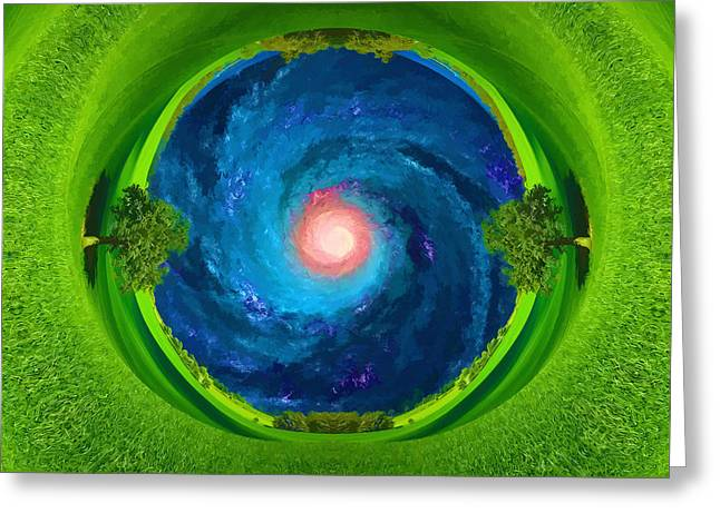 View Through The Drill Of Earth On A Milky Way Galaxy Greeting Card
