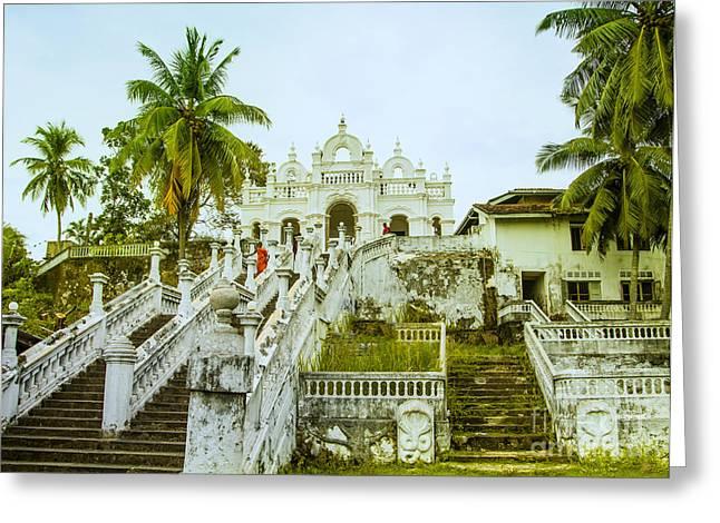 view to the Dodanduwa Temple Greeting Card by Gina Koch