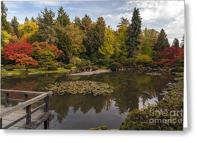 View To The Fall Japanese Garden Greeting Card by Mike Reid