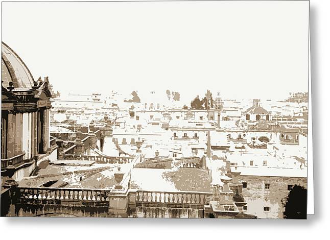 View Towards Guadaloupe From Cathedral, City Of Mexico Greeting Card